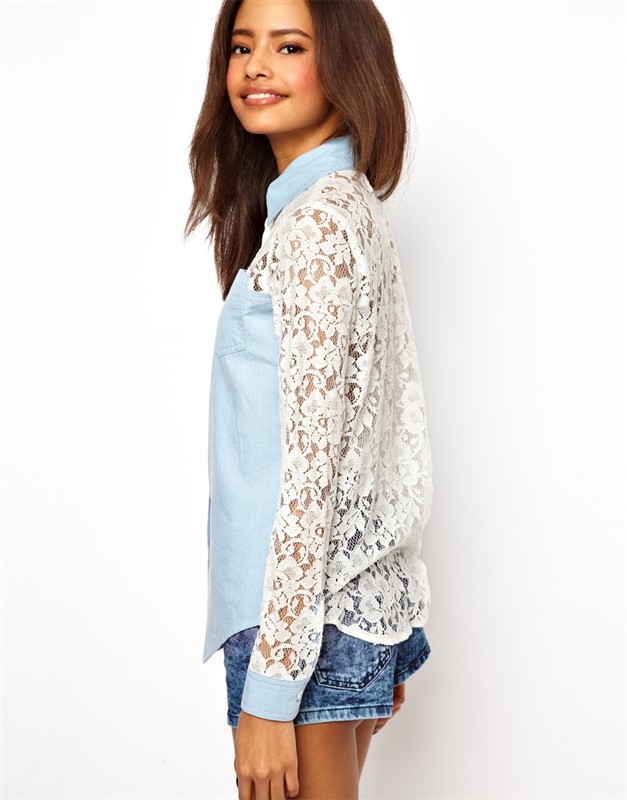 Newest Women Brand Long Sleeves Sexy Lace Combined Denim Shirt ...