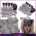 New Arrival 1B/Grey Ombre Brazilian Virgin Hair 7A Unprocessed Silver Grey Ombre Human Hair Extensions 4 Bundles With Closure