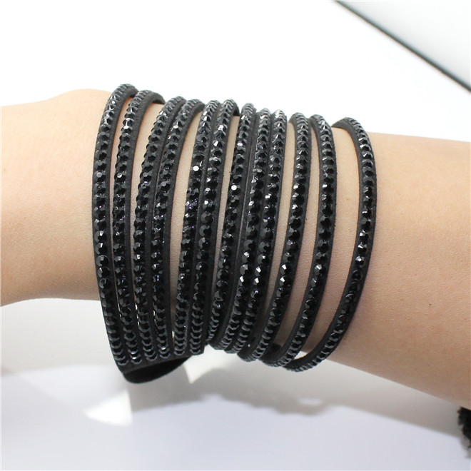 Fashion 6 Layer Wrap Bracelets Slake Leather Bracelets With Crystals Couple Jewelry womans bracelet 15