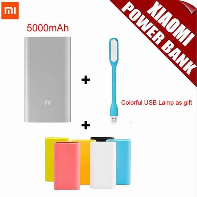 Оригинал Xiaomi Mi Power Bank 5000 мАч Xiaomi 5000 li-ion Полимер USB Power Bank Тонкий Powerbank Зарядное Устройство + Силиконовый Чехол