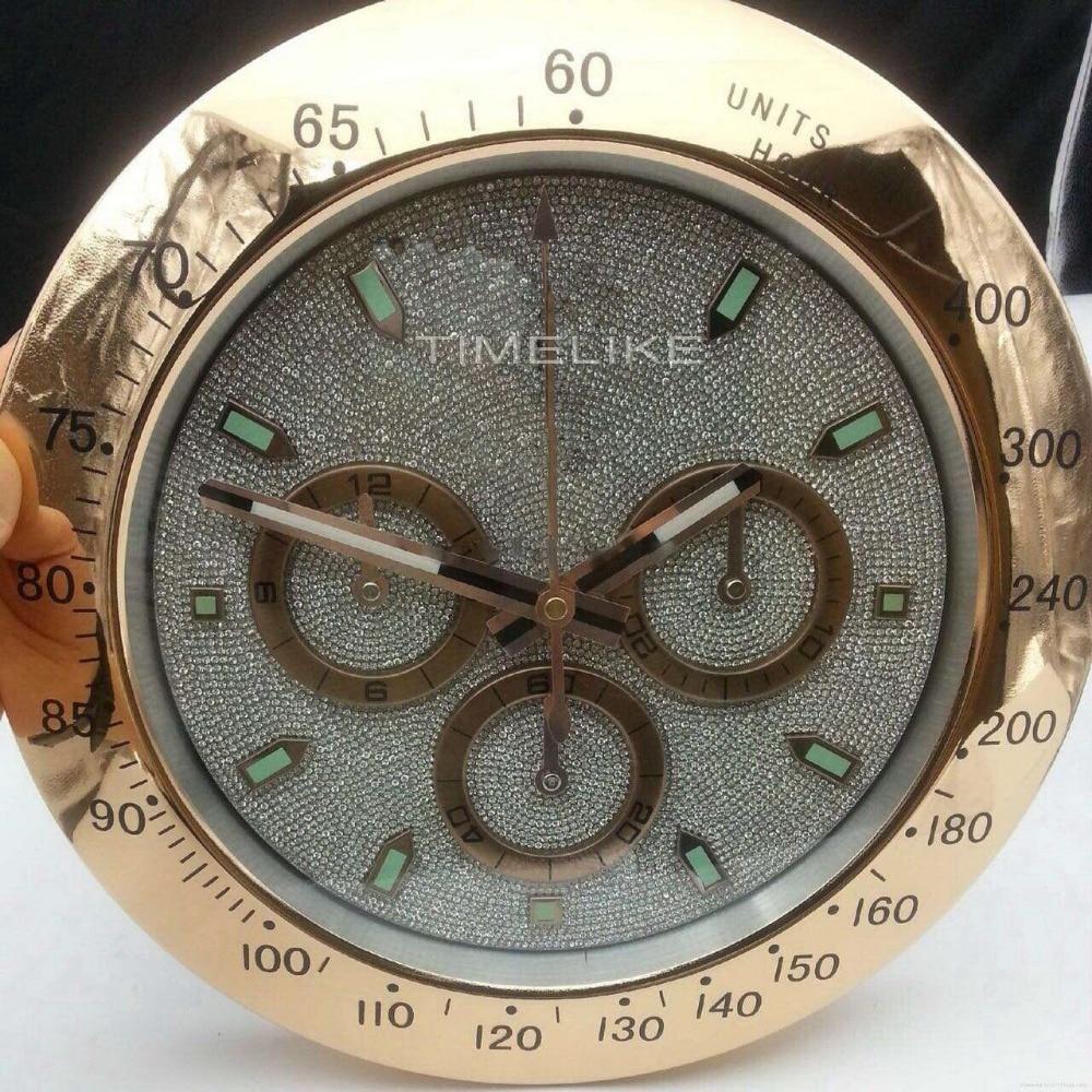 De luxe En Métal Horloge Murale Montre Forme Horloge Murale Avec Le Diamant Cadran