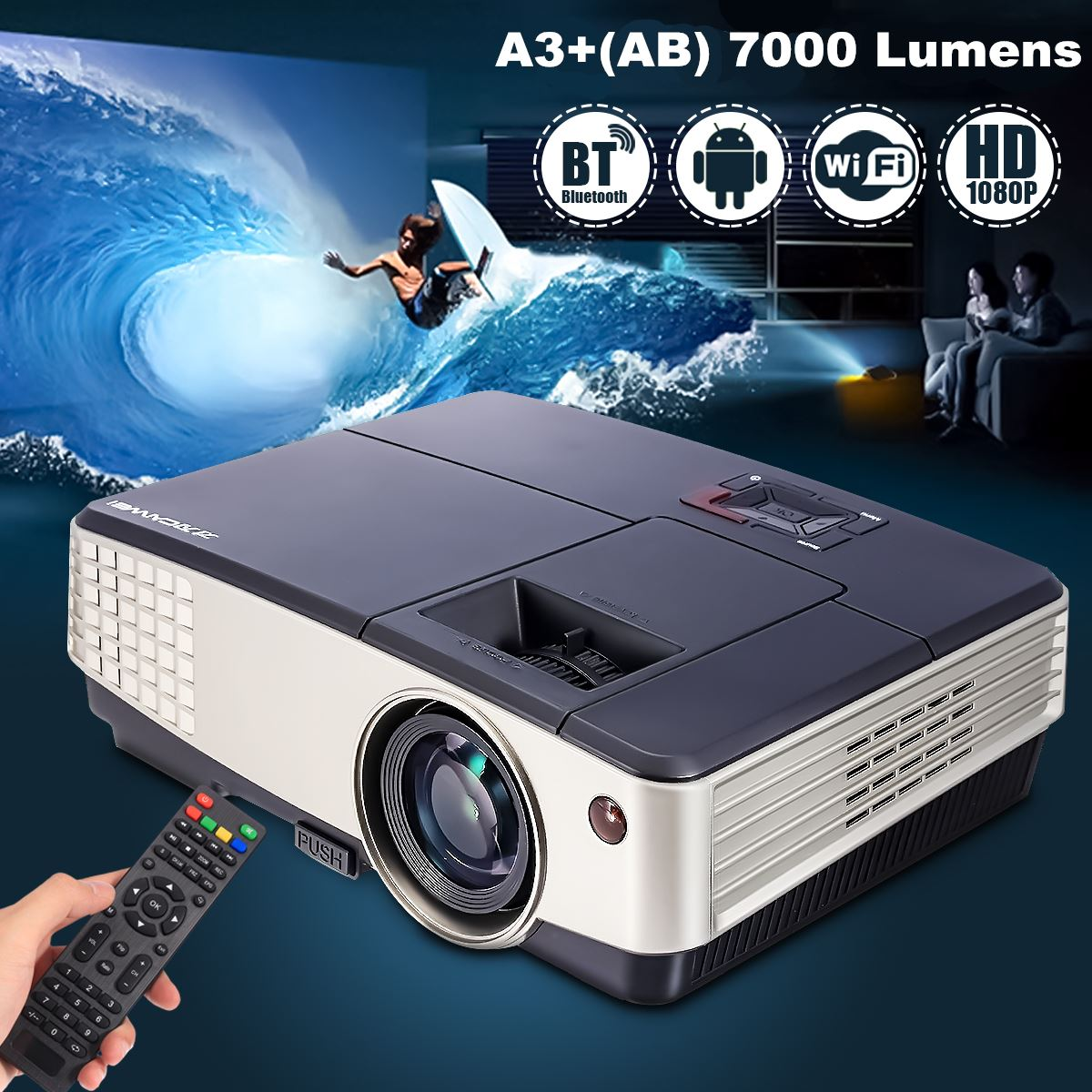 7000 Lumens A3+AB Projector 1080P Full HD LCD Wifi Home Theater Cinema 72W LED Android 4.4 Bluetooth Multimedia Beamer wzatco 5500lumen android smart wifi 1080p full hd led lcd 3d video dvbt tv projector portable multimedia home cinema beamer