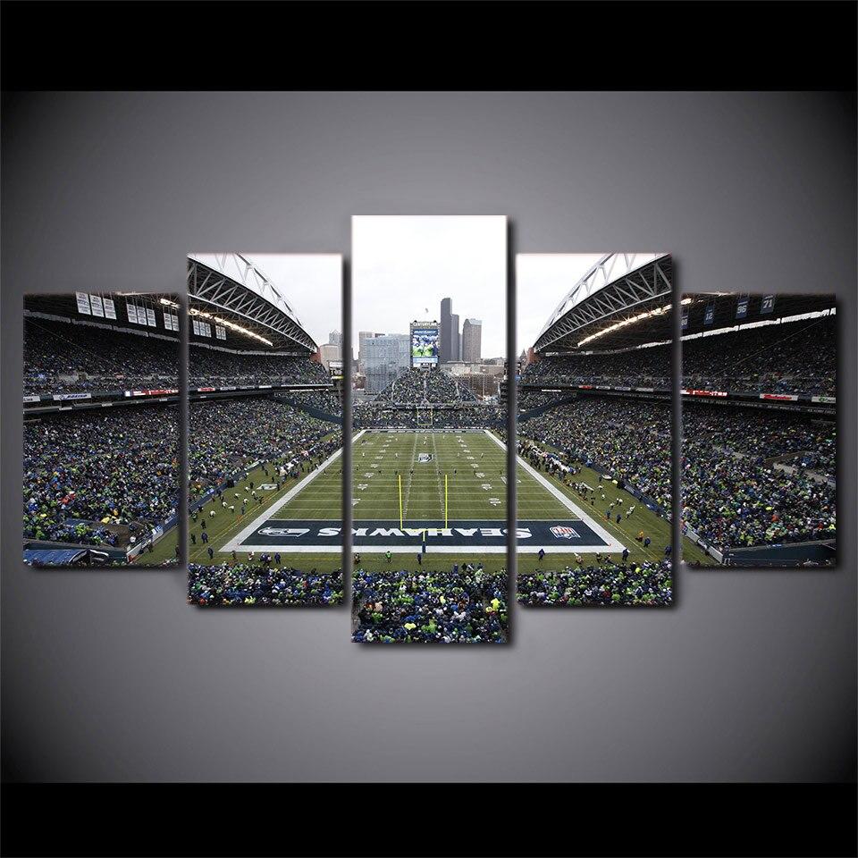 5 panel Seahawks fútbol estadio HD impreso pared arte lienzo ...