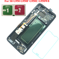 For Samsung Galaxy S8 G950F G950FD G9500 G950U 100% Tested Working AMOLED LCD Display Touch Screen Frame Assembly