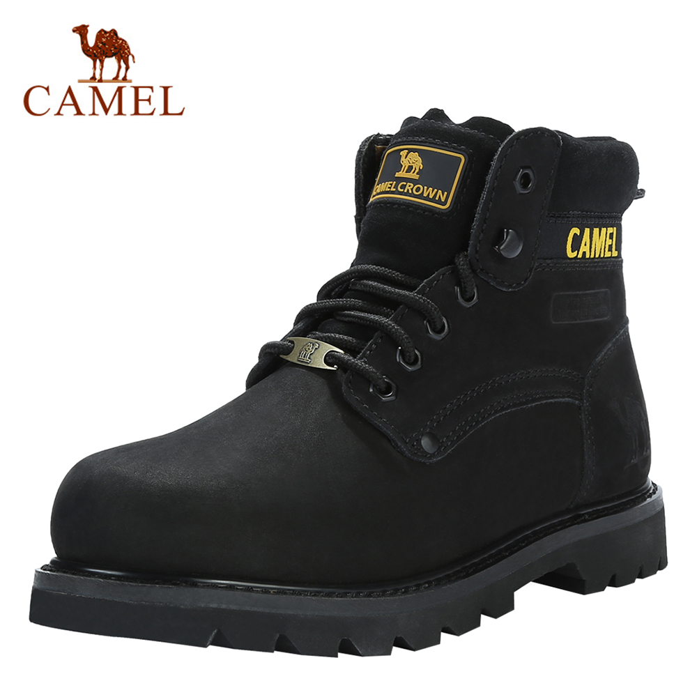 CAMEL Men's Shoes Quality Tooling Boots Genuine Leather Army Male Tactical Military Botas Rubber Cool Work Shoes Man Size 41 46