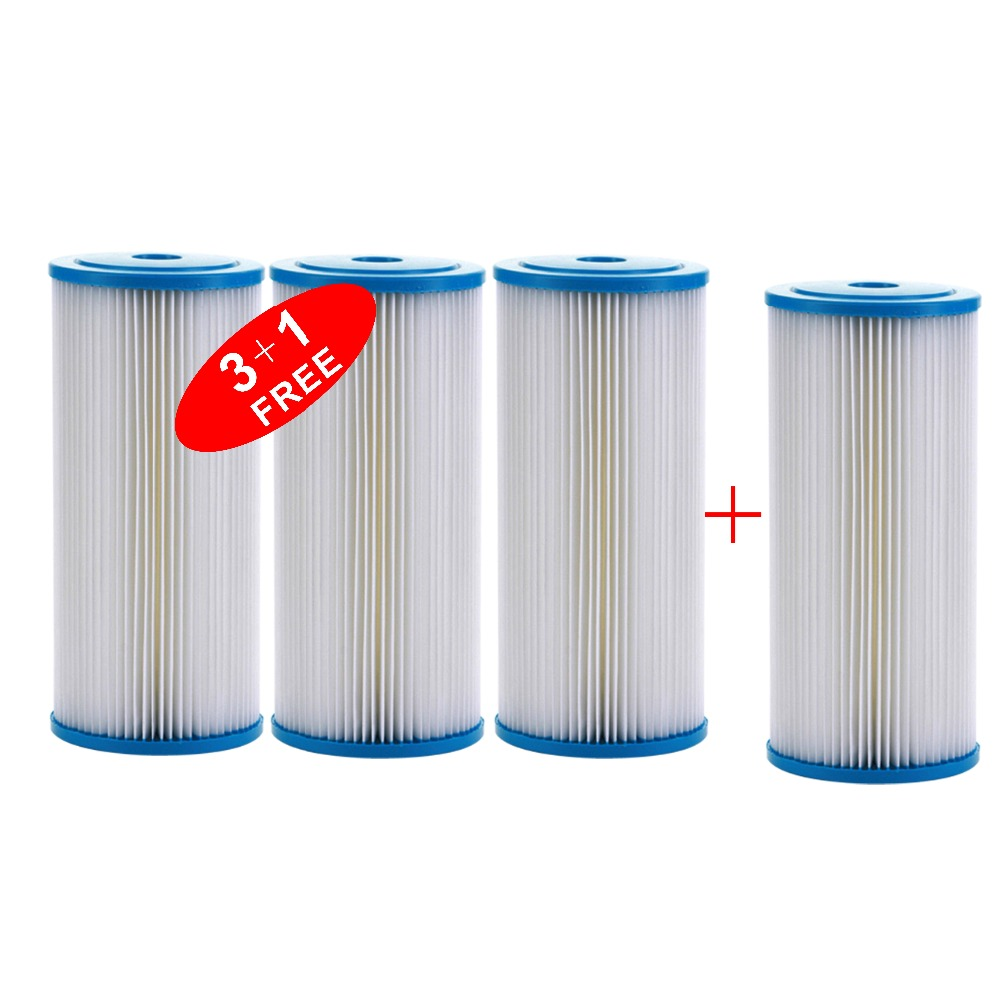 Big Blue 20µm Pleated Washable Sediment Water Filter Whole House 10x4.5 (3+1FREE)