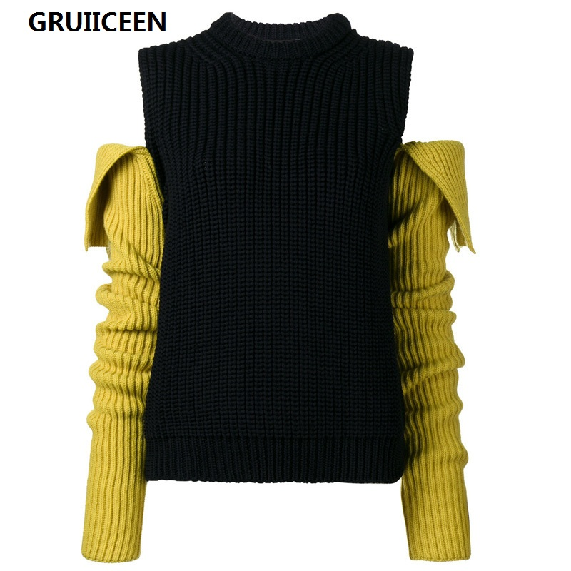 GRUIICEEN fashion luxury brand christmas women winter sweaters and pullovers 2017 o neck loose patchwork sweaters streetwear
