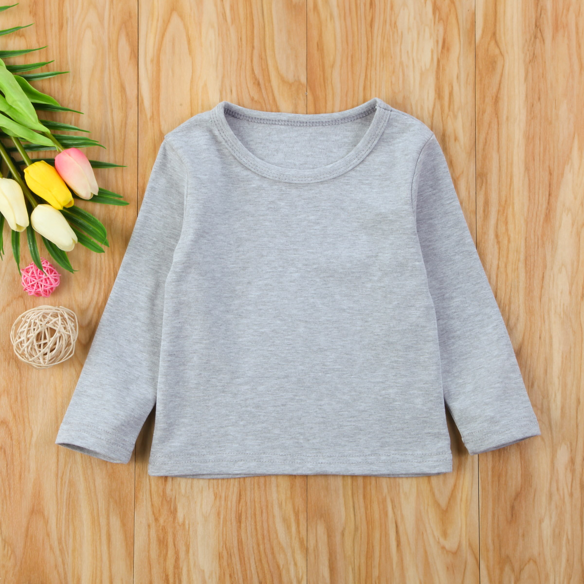 Autumn Cotton Newborn Infant Kids Baby Boys Girls Clothes Solid Cotton Soft Clothing Long Sleeves T-shirt Tops 5