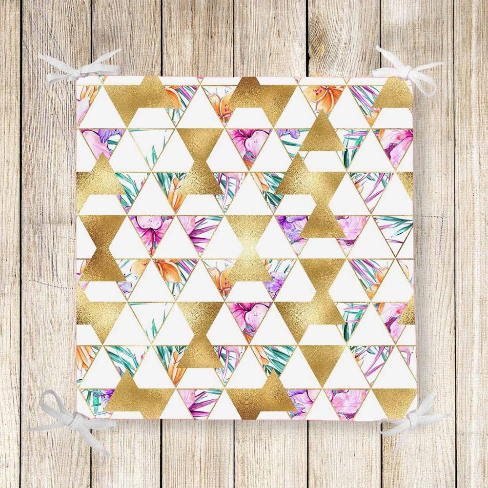 Else Tropical Golden Floral Triangles 3d Print Chair Pad Seat Cushion Soft Memory Foam Full Lenght Ties Non Slip Washable Square