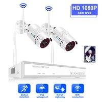Zoohi 1080 1080P 2CH ワイヤレスセキュリティカメラシステム 2.0MP WiFi HD ビデオ監視カメラシステムキット IP66 屋外ナイトビジョン