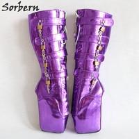Sorbern фиолетовый металлик Для женщин сапоги Crossdressed каблуки Фетиш на цыпочках каблуки сапоги декоративные замки балетки экзотические обувь д