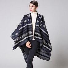 Femmes Motif Géométrique Écharpe Manteau Long Poncho Cape Outwear Manteau Châle  Couverture b5bd2ce43eb