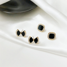 Female Simple Personality Style Of Bowknot S925 Stitching Stud Earring Cold Wind Temperament Earrings Jewelry Accessories