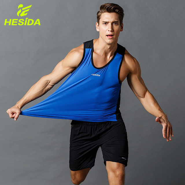 4dfffe8420aee Men Sport Fitness Tank Top Quick Dry Bodybuilding Gym Sleeveless Workout  Running Vest Sportswear Singlet Clothing
