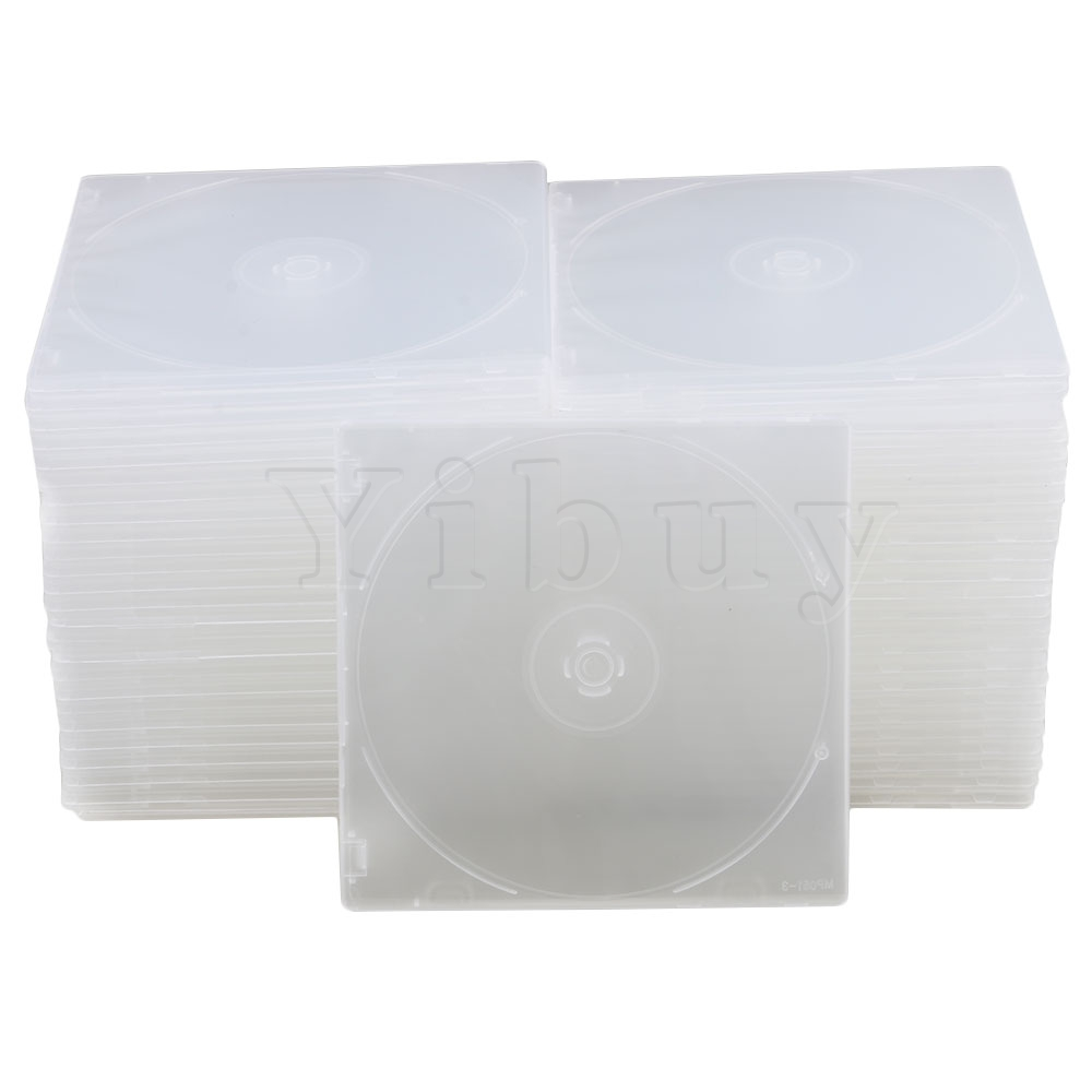 Yibuy 12.9x12.6cm Transparent Plastic Empty Slim Single Disc CD DVD Storage Cases With Clear Inner Trays Pack Of 50