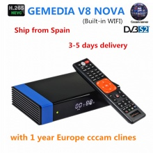 GT Media Freesat V8 NOVA Satellite TV Receiver DVB-S2 H.265 built-in WIFI with 1 year European Spain CCCAM cline  Top Receptor