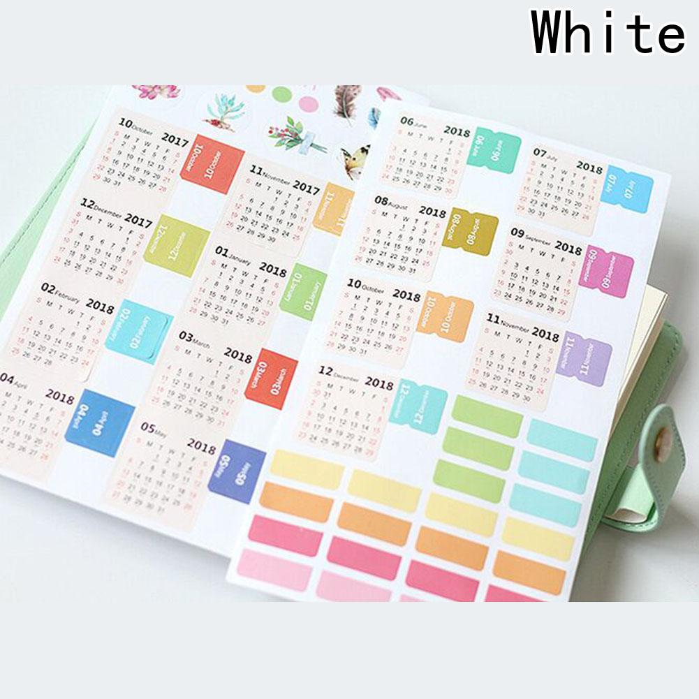 New Year 2018 Calendar Sticker Notebook Index Monthly Category Sticker Diary Planner Label Stickers Accessories