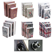 Size S Creative Money Box Simulation Book Key Lock Money Jewelry Safe Security Hidden Safe Box Decorative Book 118*115*55 mm