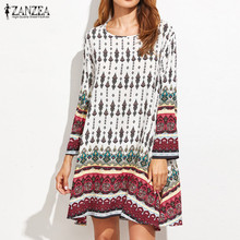 2018 ZANZEA Womens Summer Crew Neck Long Sleeve Vintage Floral Loose Casual Party Mini Dress Beach Vestido Sundress Plus Size