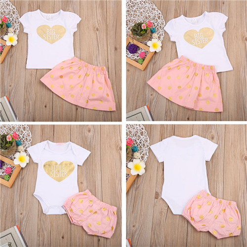 Newborn Infant Kid Girl Clothes Summer Cotton Big Sister T-shirt Skirt Little Sister Bodysuit Shorts 2PcsSet Baby Clothes Outfit newborn baby girl clothes set 3pcs kid party my first christmas cotton bodysuit sequin bowknot tulle tutu skirt headband outfit page 1