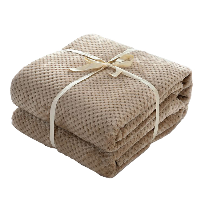 Japan Style Flannel Blanket Solid Plain Coral Fleece Mink Throw Thick Breathable Soft Warm Plaid Spring Summer Quilt Blankets