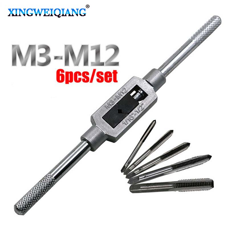 6pcs 3F Hand Screw Thread Metric Plug Tap Set M3 M4 M5 M6 M8 With Adjustable Tap Wrench 1/16-1/4