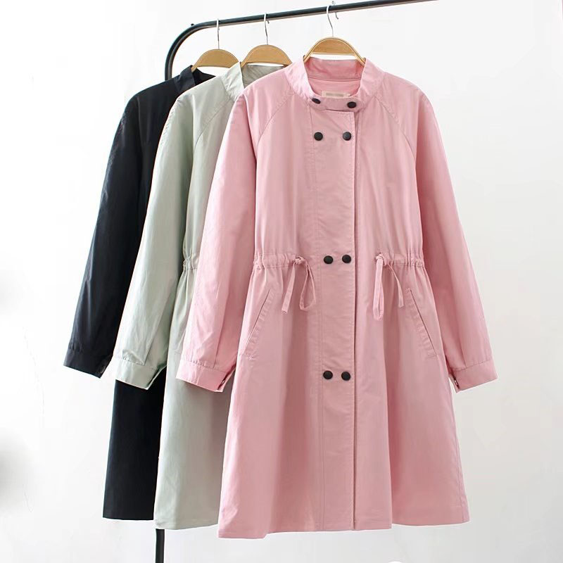 Turtleneck   Trench   Coat For Women Plus Size 3XL 2018 Spring Autumn New Casual Double Breasted Loose Long   Trench   Outerwear LD10