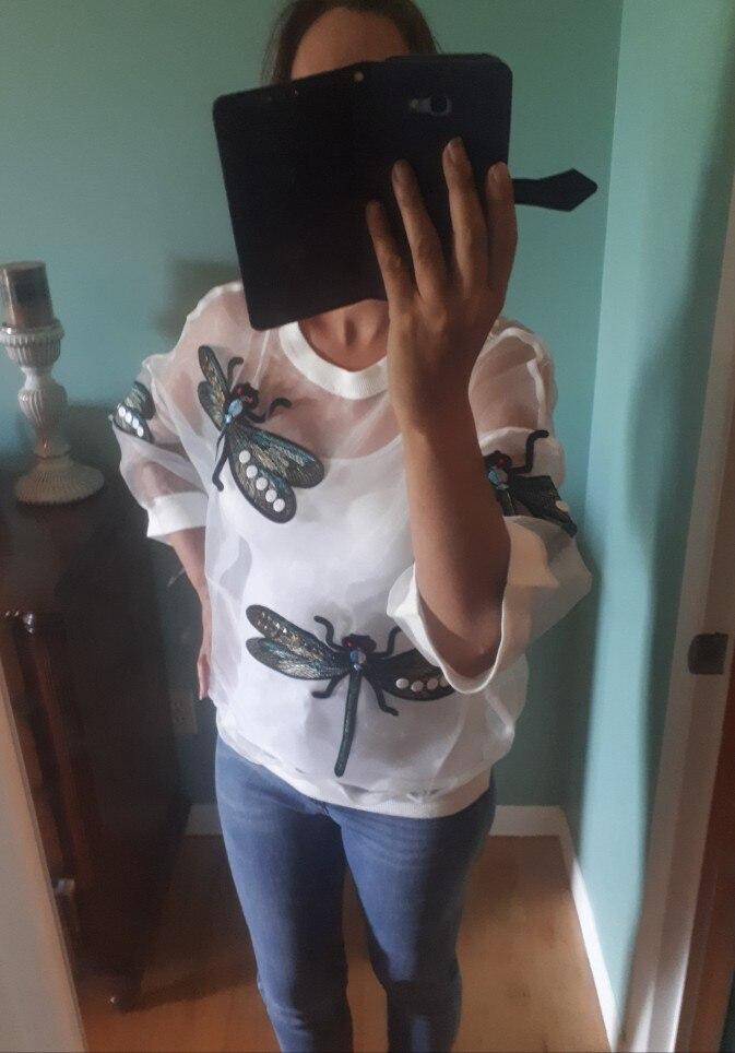 Autumn Winter Round Neck Long Sleeve Big Size Organza Stitch Three Dimensional Shirt Women Blouse Fashion photo review