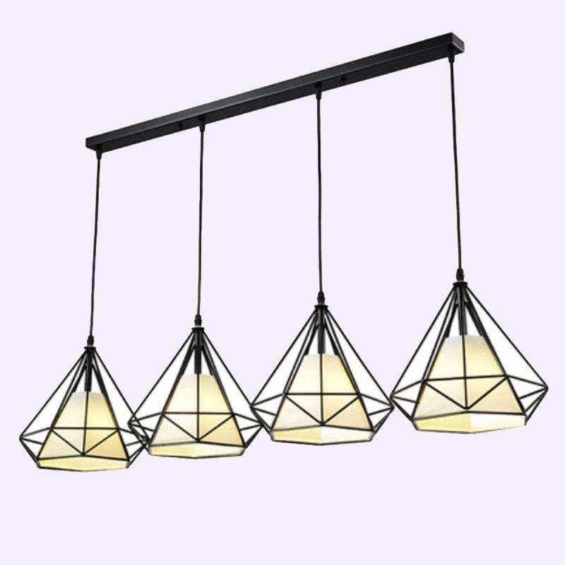 1 Set 100cm Long Base 4 Heads Pendant Lights For Living Room Restaurant Aisle Diamond Iron Cage Art Pendant Lamp