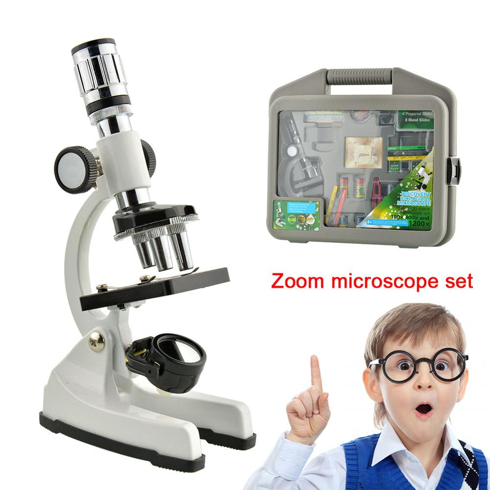 Kit de Microscope laboratoire scientifique 300X-600X-1200X Zoom biologique Microscope maison école jouets éducatifs pour enfants Instruments optiques