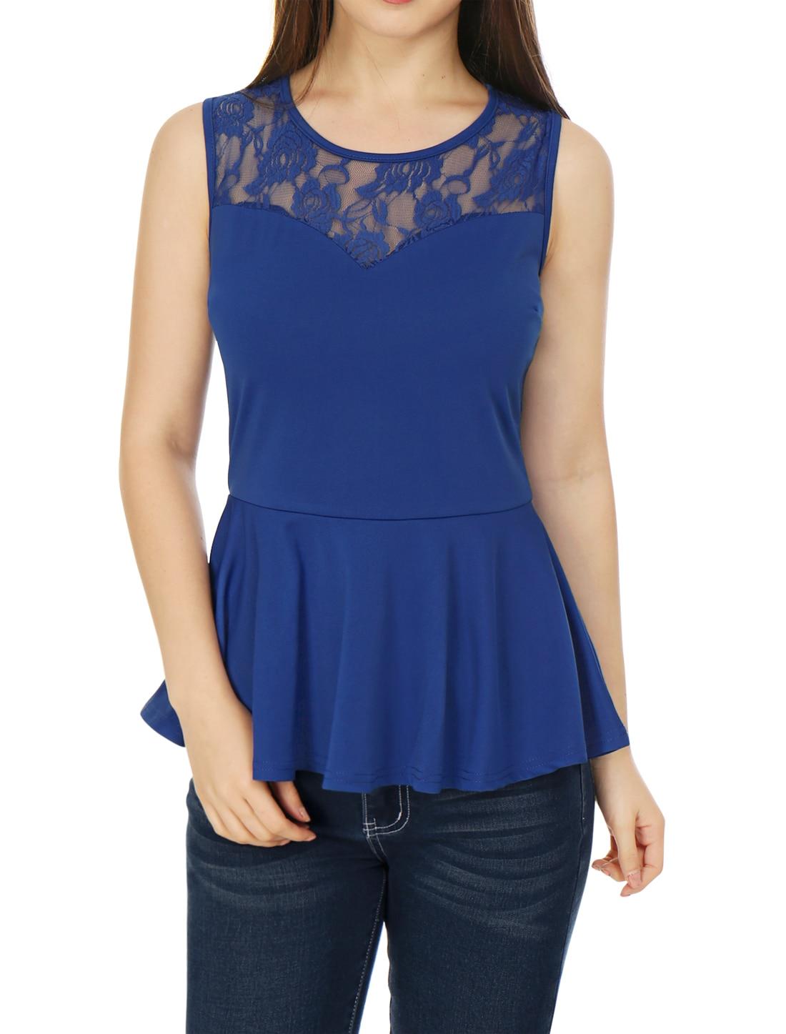 Allegra K Ladies Cap Sleeves Round Neck Stripes Peplum Top Blue M