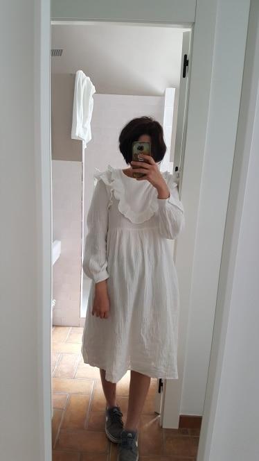 Korean Women Autumn Thick Cotton Long Ruffle Dress Long Sleeve Vintage Elegant Plus Size Vestidos Robe Femme Jurken photo review