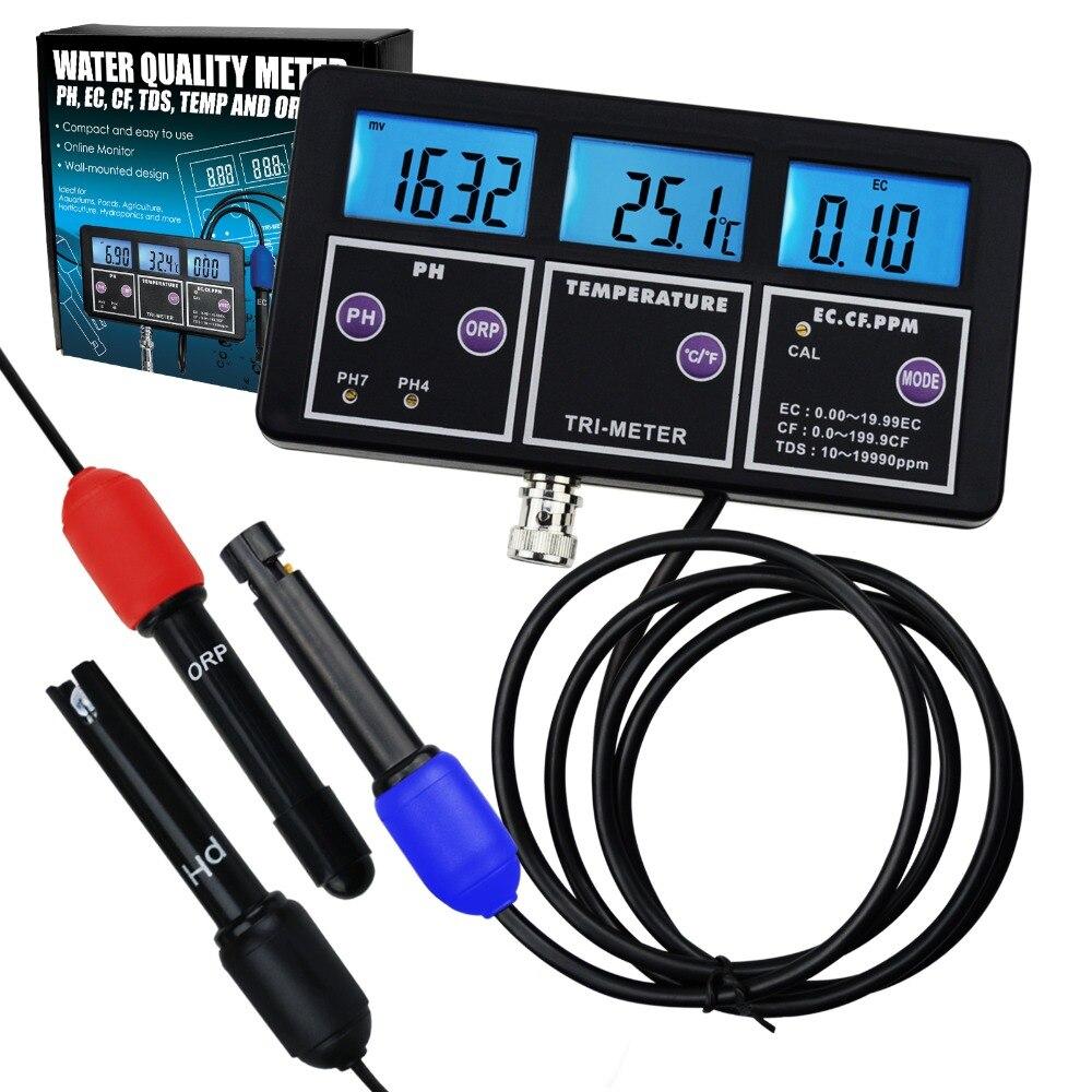 6 em 1 Profissional Multi-parâmetro pH/ORP/EC/CF/TDS PPM/Temperatura Combo medidor de teste, melhor em Aquário, Spas, Laboratório