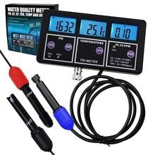 6 in 1 Professional Multi-parameter pH/ ORP/ EC/ CF/ TDS PPM/ Temperature Combo Testing Meter, Best in Aquarium, Spas, Lab