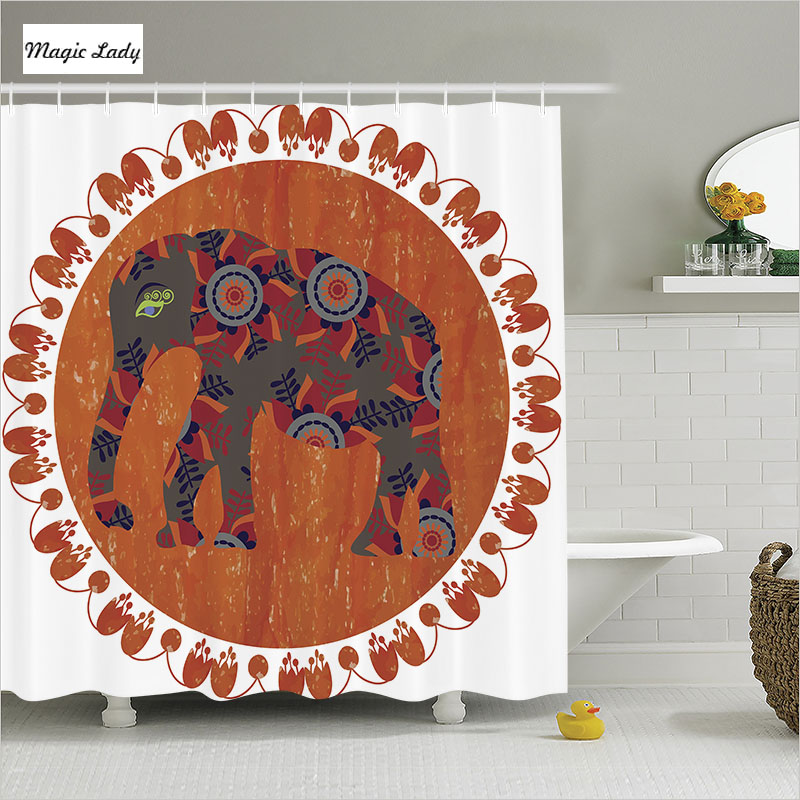 Shower curtain animal bathroom accessories circus indian for Indian bathroom decor