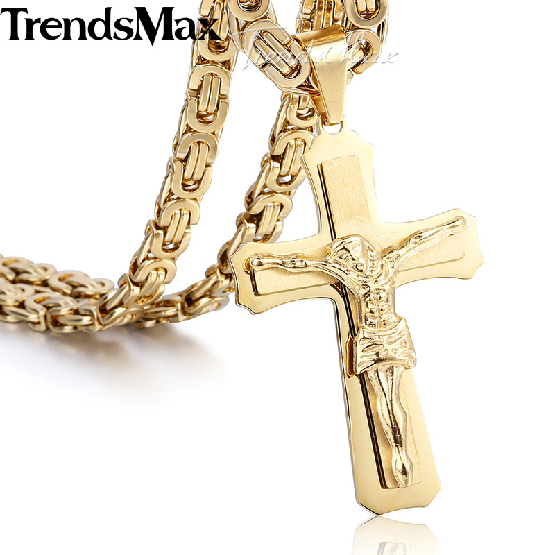 layer Cross Christ Jesus Stainless Steel Pendant Necklace Mens Boys Chain Jewelry