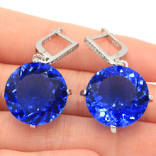 SheCrown 14.3g Big Round Gemstone 20x20mm Violet Tanzanite CZ Silver Earrings 38x20mm