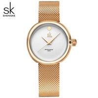 SK Woman Top Brand Watch Ladies Ultra Thin Golden Steel Band Watches Women S Dress Quartz