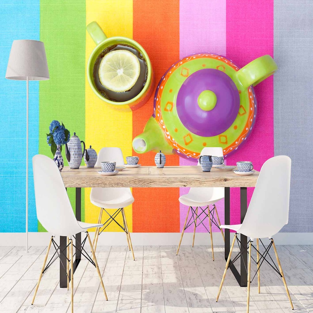 Else Blue Green Pink Yellow Orange Line Cup Of Tea 3d Print Photo Cleanable Fabric Mural Home Decor Kitchen Background Wallpaper
