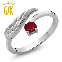 0 30 Ct Round Red Ruby 925 Sterling Silver Wing Ring