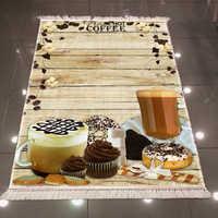 Otra taza de madera marrón tartas Donut flor crema rosa 3d impresión microfibra antideslizante espalda lavable decorativo alfombra de área de cocina alfombra