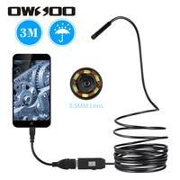 OWSOO-endoscopio USB con 6 luces LED de 5,5mm, Cable 3M, minicámara de alcantarillado Android, boroscopio para inspección de coche, cámara de tubo de serpiente con Cable de USB OTG