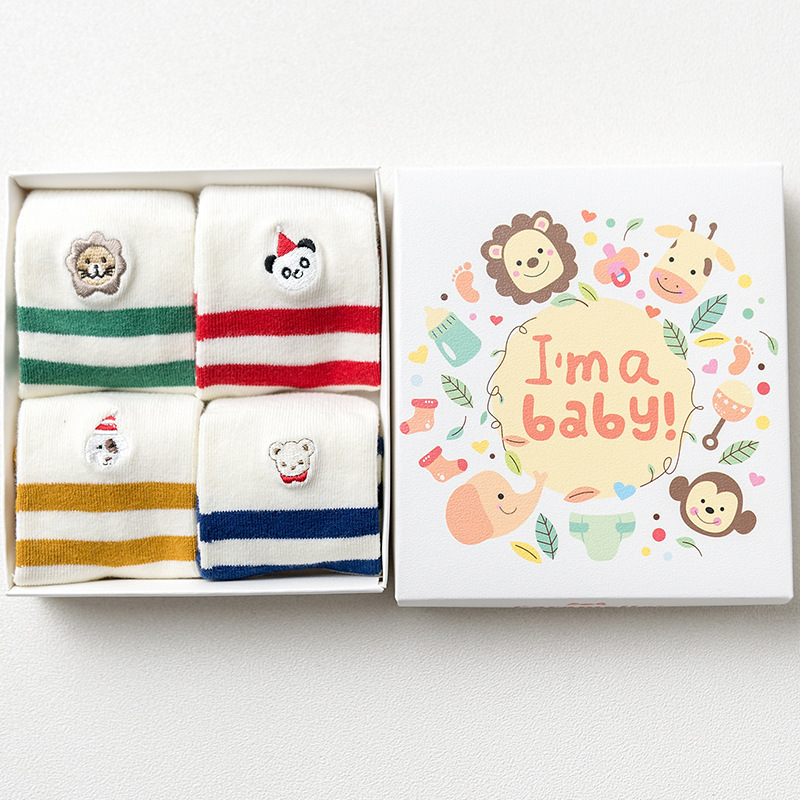 A set of baby socks Im a baby, 4 pairs baby set of 4 pieces cotton box baby set of 4 pieces