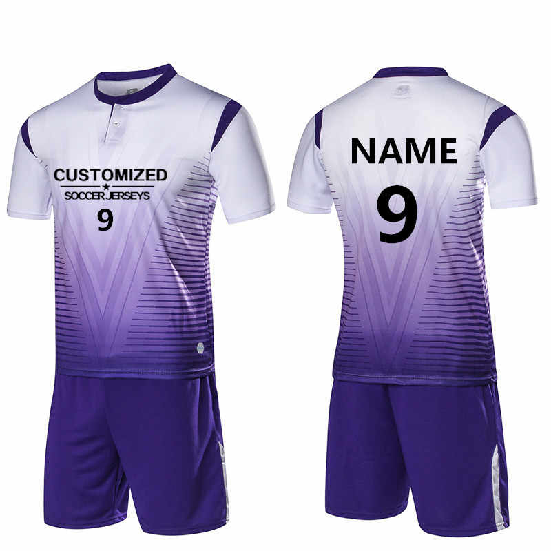 3fb5466d1 Men Soccer Jerseys Sport Kit Training Suit Football Volleyball Uniforms  Shirts Breathable Soccer sets Customized Pint