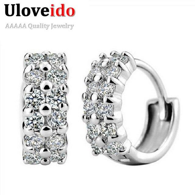 Uloveido Silver Stud Earrings for Women Earing Vintage Jewelry Zircon Earrings Crystal CZ Zircon Studs Earring 15% off Y043