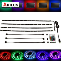 4X50CM LED Strip Light 5050 SMD RGB USB Waterproof Flexible TV Backlight With 24 Keys Remote