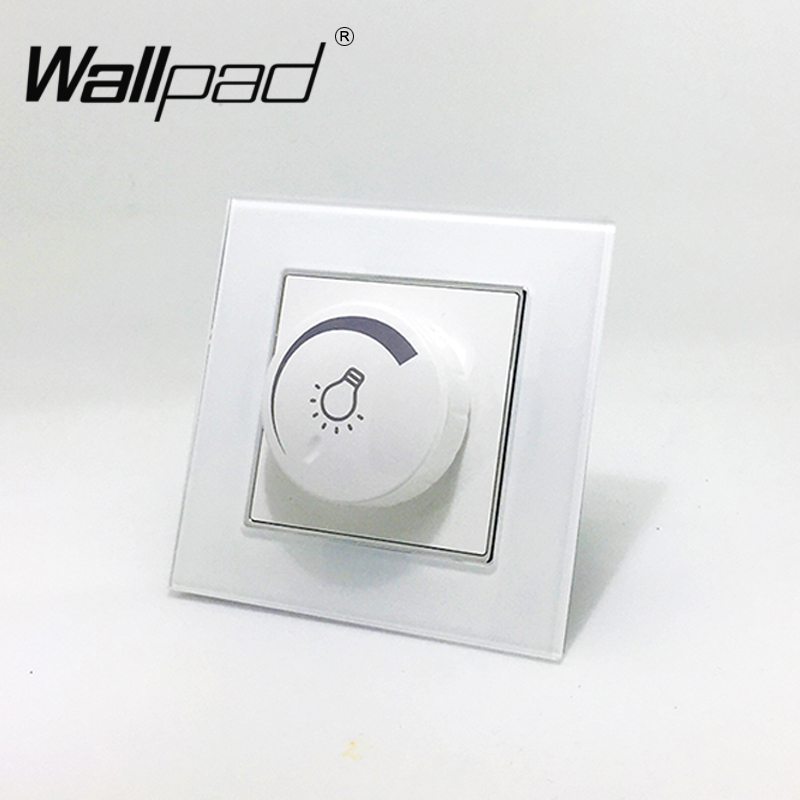 110-250V LED Dimmer 600w Switch Wallpad White Crystal Glass EU European Rotary 1 gang LED Light Dimmer 600w with Claws Clips image