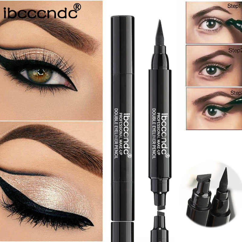 Ibcccndc 1pc Thick/Thin 2 In 1 Eyeliner Pen Waterproof Eyeliner Stamp Lasting Quick Dry Eyeliner Tattoo Wing Makeup Tool TSLM2