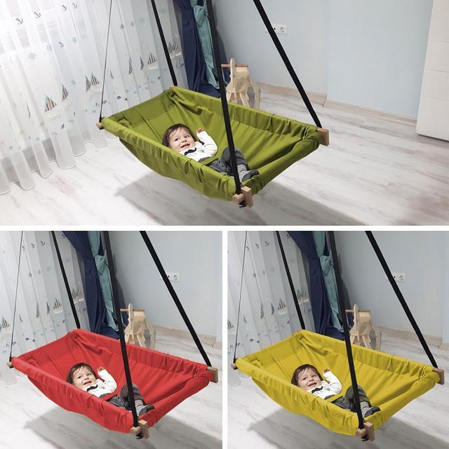 Baby Hammock Swing Wooden Hanging Hammock Cradle For Indoor And Outdoor