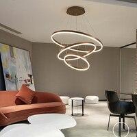 Круг кольца матовый Кофе Цвет светодио дный люстра лампа для столовой гостиной светильник Современные светодио дный люстры светильники